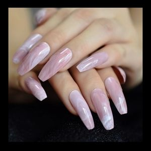 Pink/white marbled long presson nails